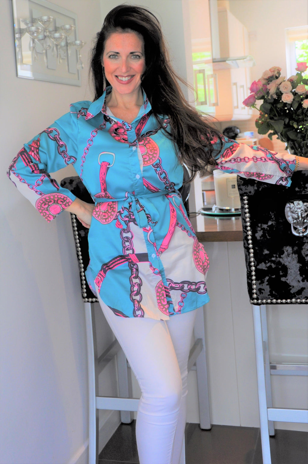 "Satin ""Silk Scarf Pattern"" Belted Tunic"