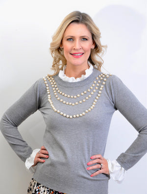 Grey Ladies Pearl Knit Jumper