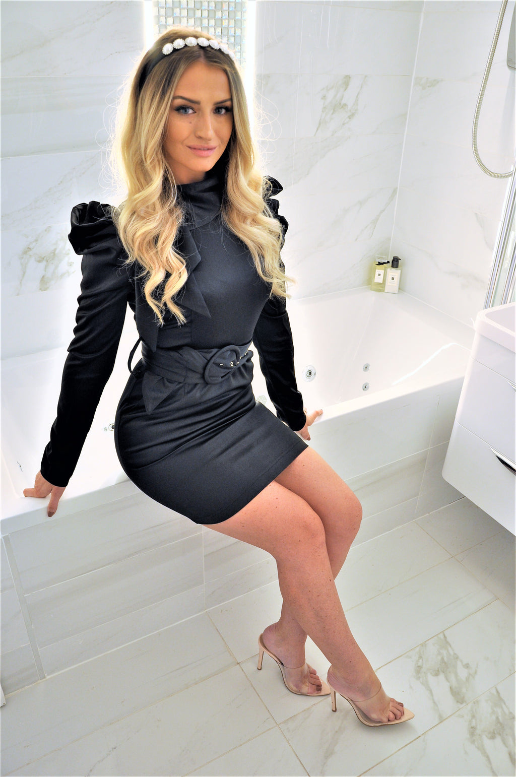 Ally Black Belted Dress with Puff Sleeves
