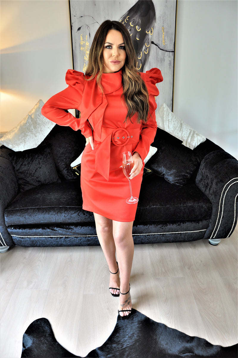 Ally Red Belted Dress with Puff Sleeves