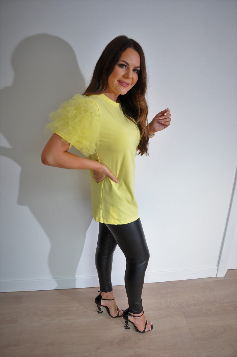 Beautiful Yellow Tulle Sleeve T-shirt.