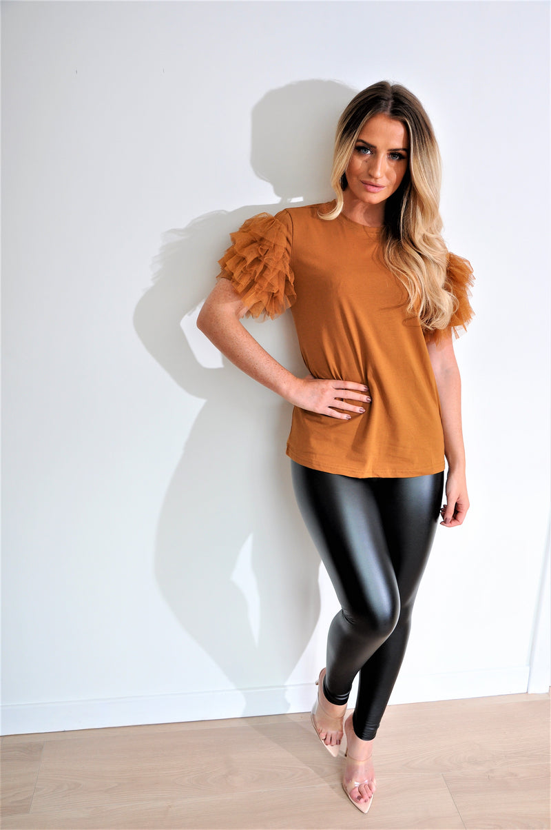Camel Coloured Tulle Sleeve Top