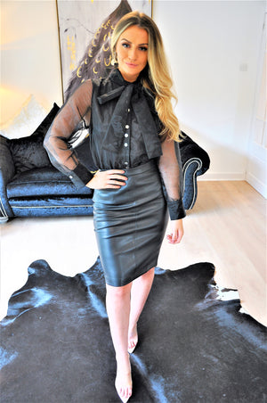 Black Faux Leather Knee Length Pencil Skirt