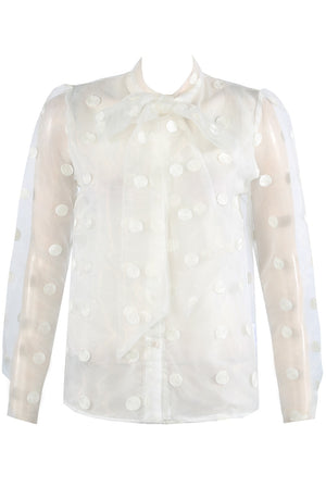 White Polka Dot Mesh Sheer Shirt