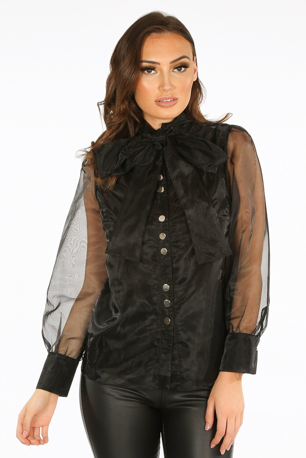 Black Sheer Blouse with Tie Bow Collar.