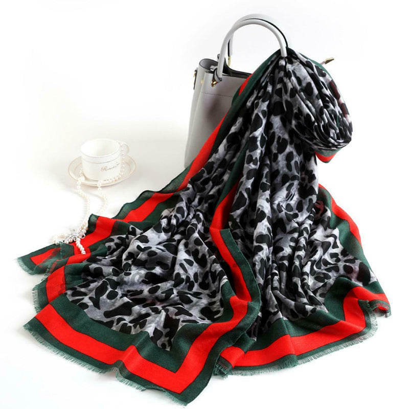 Red Green and Grey Leopard Print Scarf
