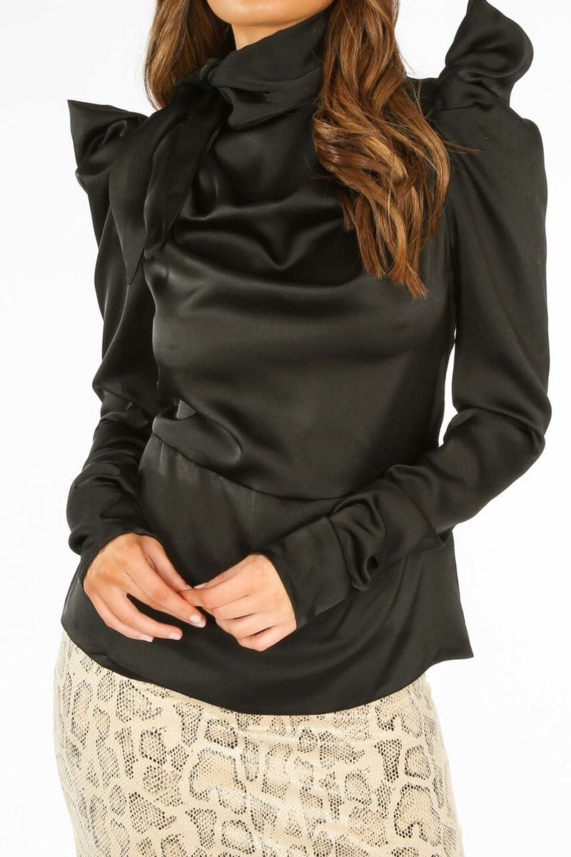 Black Blouse with Puff Shoulders