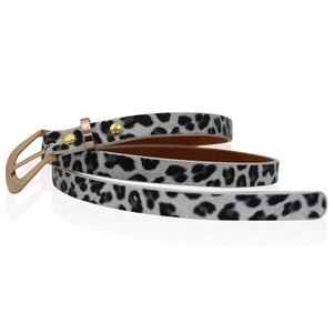Ladies Leather Black and White Leopard Print Skinny Belt