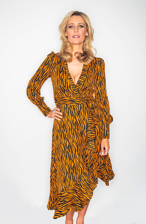 Brown Animal Print Wrap Dress