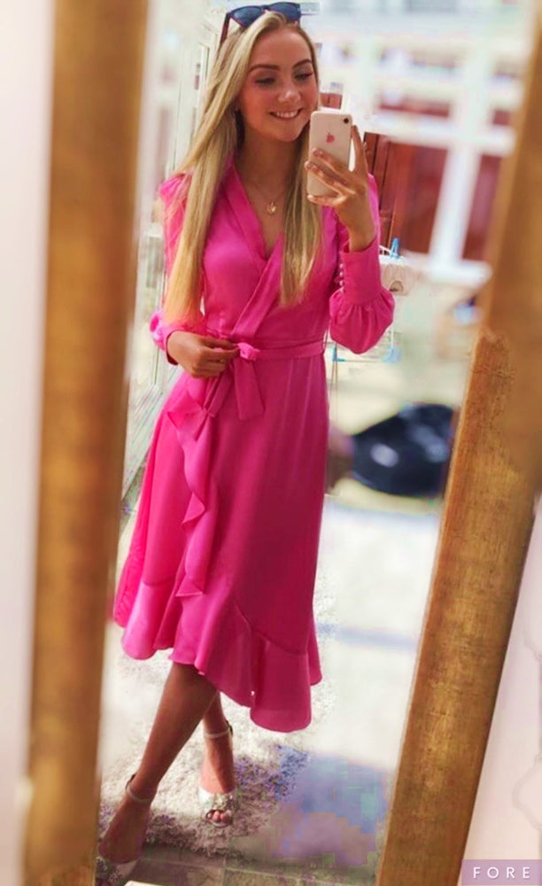 Ladies Hot Pink Silk Midi Dress