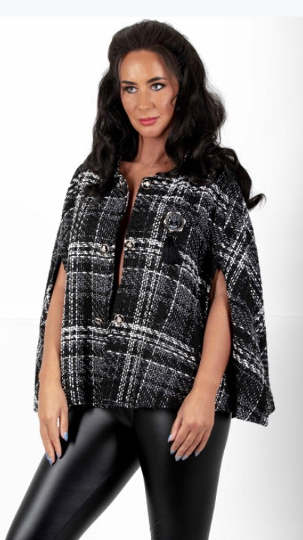 Black Chanel Inspired Tweed Cape