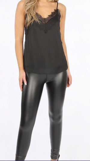 HIGH WAIST SLEEK WET LOOK LEGGINGS