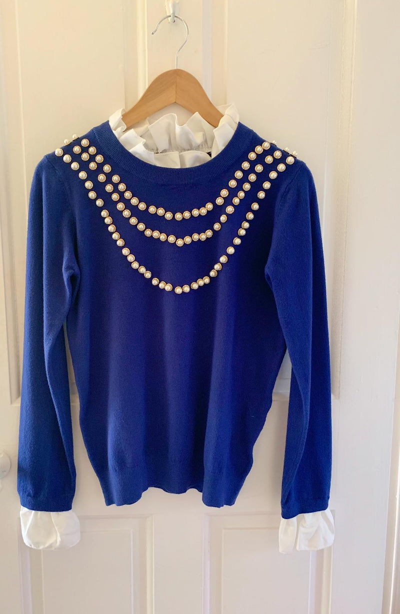 Blue Ladies Pearl Knit Jumper