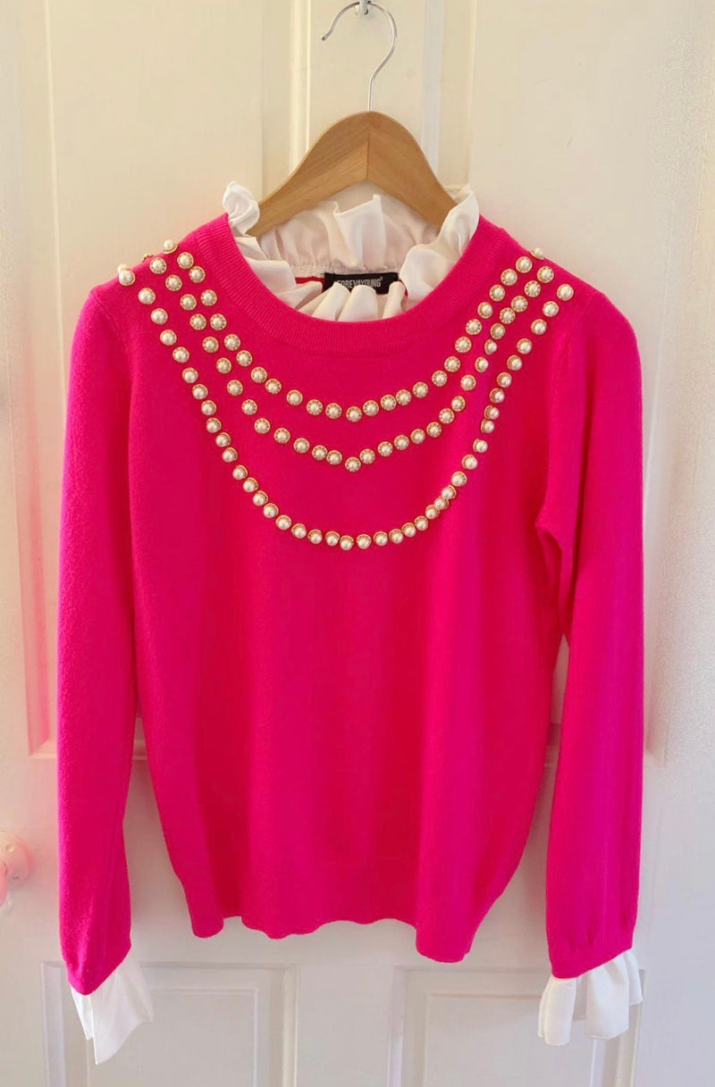 Fuschia Pink Ladies Pearl Knit Jumper