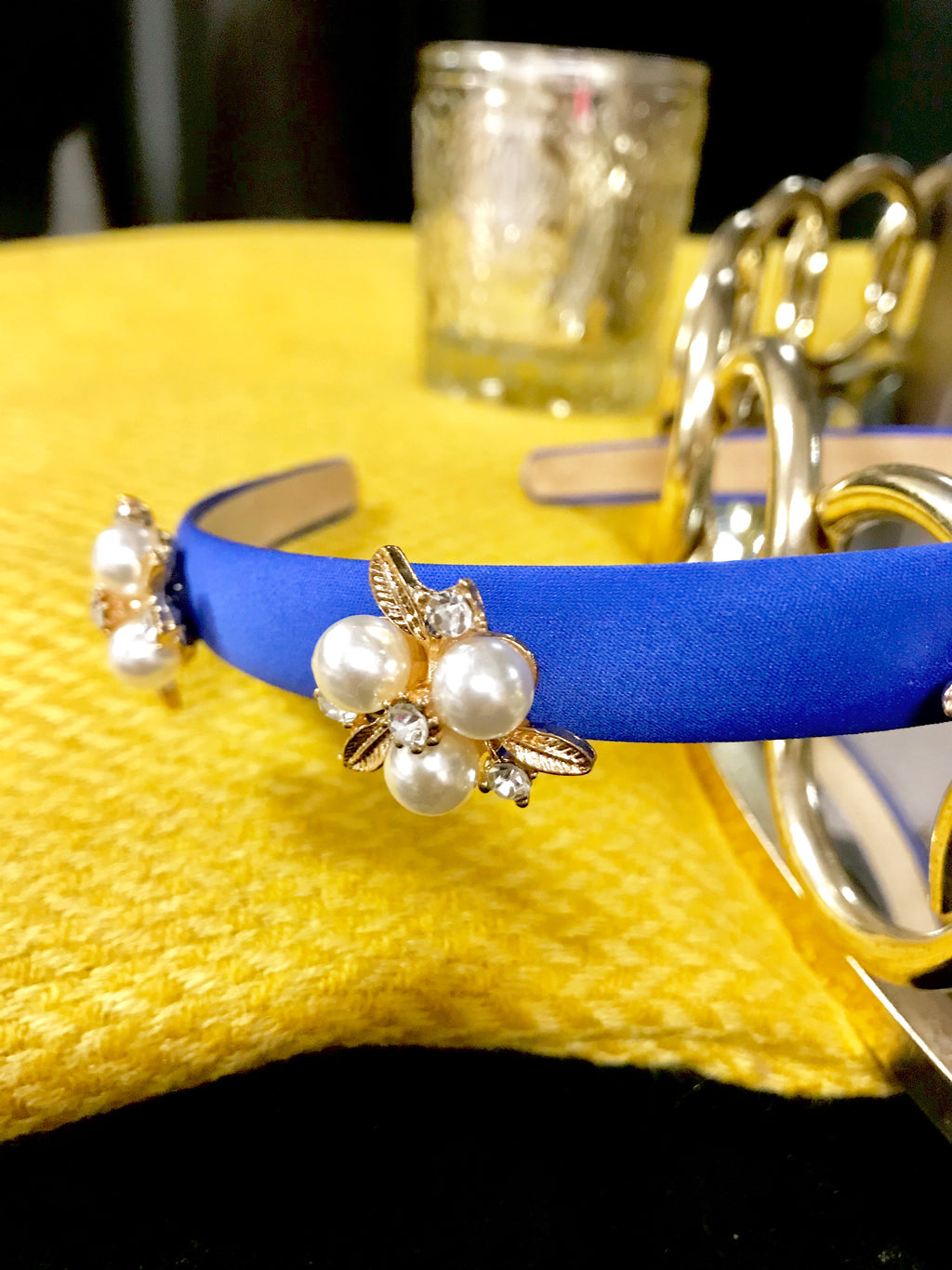 Royal Blue Pearl and gold leaf Diamante Slim Hairband