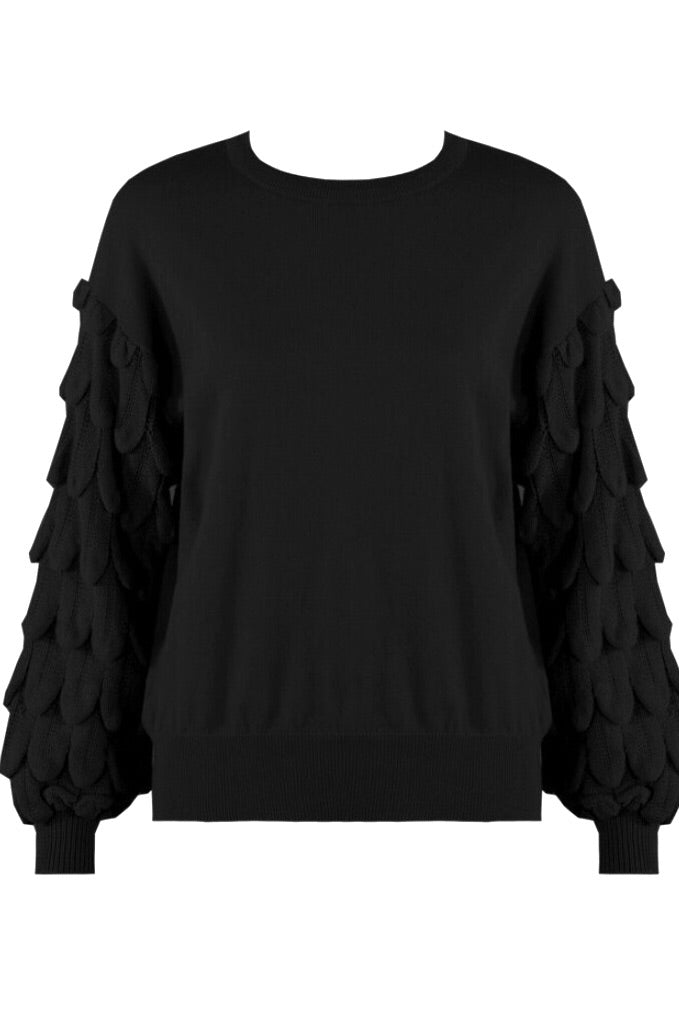 Black Chunky Sleeves Knitted Jumper