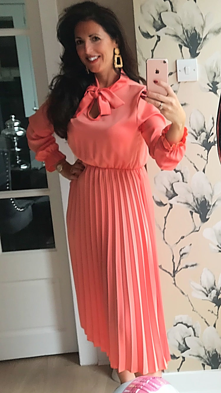 Peach Pussybow Pleated Dress