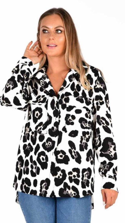 Black and white leopard print shirt