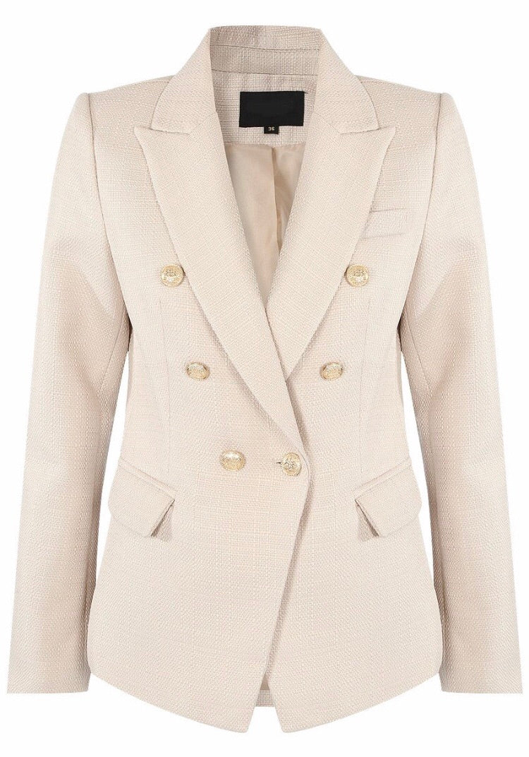 Beige Double Breasted Blazer with Buttons
