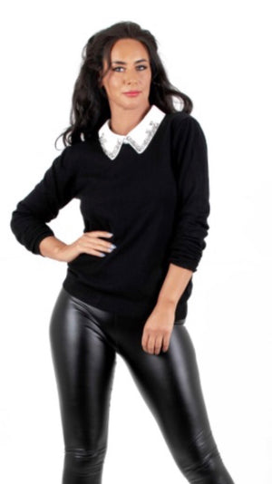 Black Diamante Collar Knit
