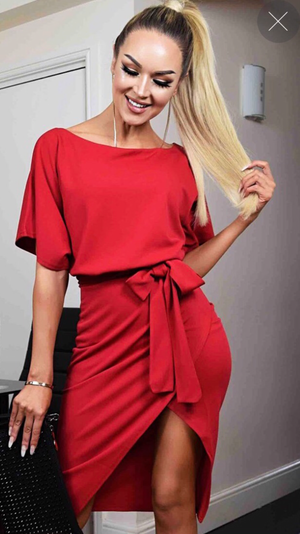 Ruby Red Wrap Front Belted Midi Dress