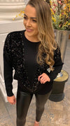 Black V Sequins Jumper
