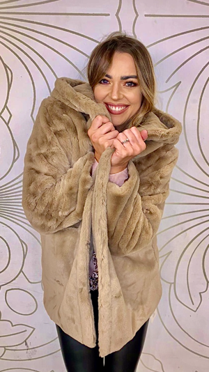 Taupe Faux Fur Coat