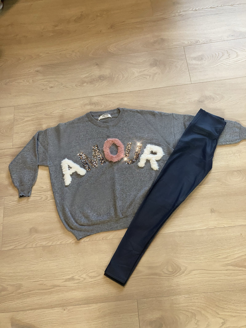 Grey Amour Fur & Sequin Jumper