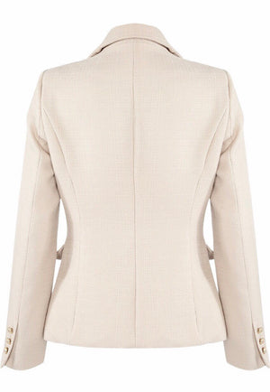 Beige Double Breasted Blazer with Gold Buttons
