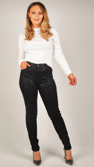 Black Snake Skin Print Embossed Wet Look Jeans