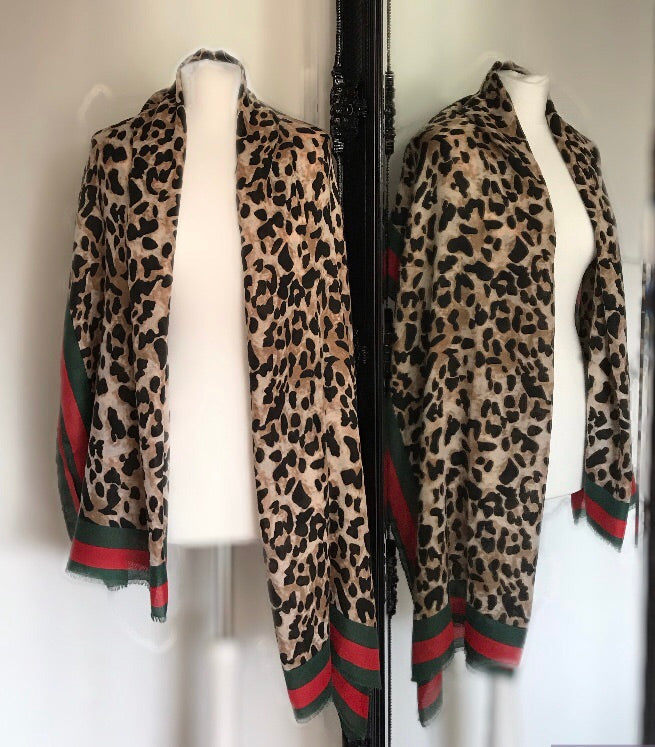Red Green and Brown Leopard Print Scarf
