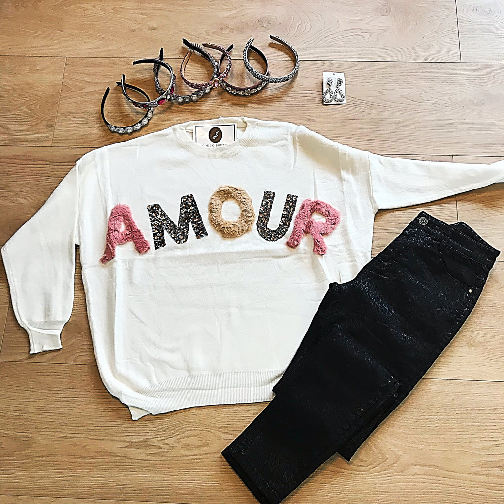 White Amour Fur & Sequin Jumper