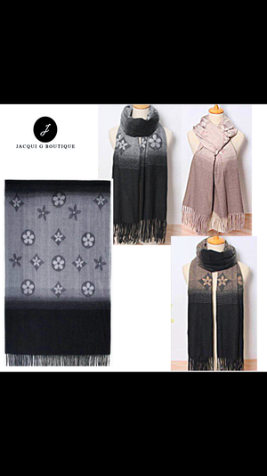Charcoal LV Designer inspired Shawl Scarf