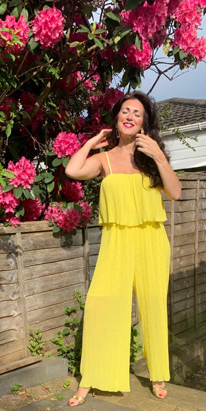 Yellow flowy jumpsuit