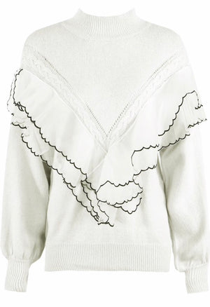 Frill Knit Zulu Jumper Cream