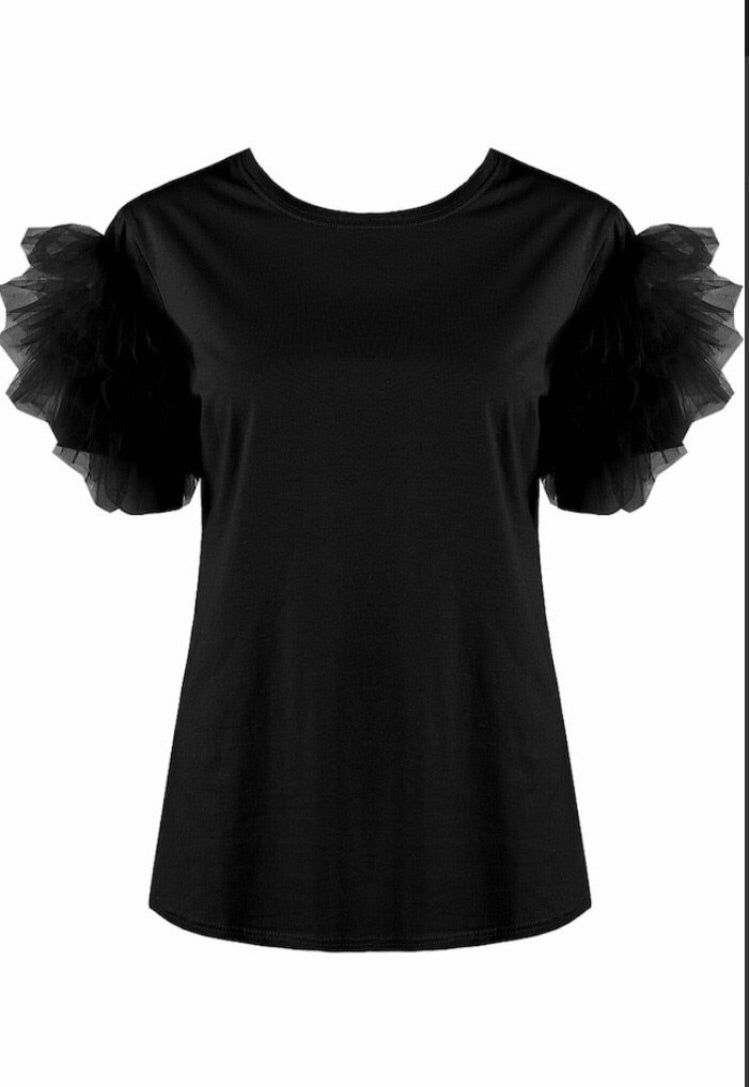 Tulle Sleeve Top Black