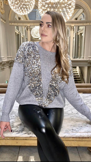 Grey V Sequins Jumper