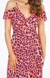 Pink Leopard Print Cold Shoulder Dress