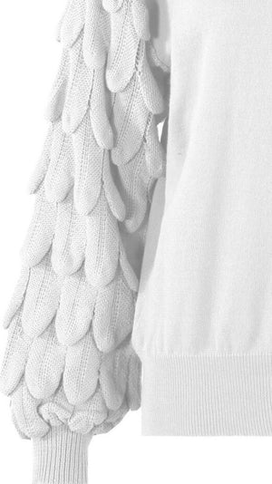 White Chunky Sleeves Knitted Jumper