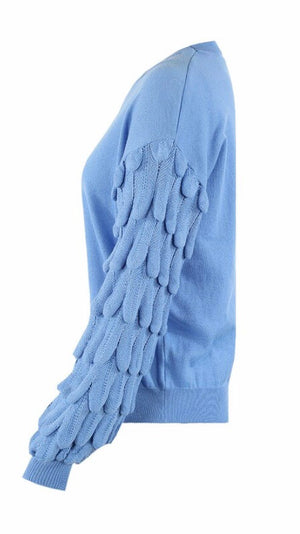 Powder Blue Chunky Sleeves Knitted Jumper