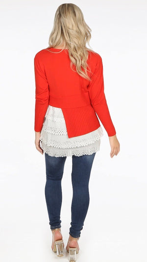 Red Asymmetric Layered Hem Jumper