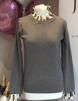 Grey Ladies Chain and Belt Cuff and Collar Jumper