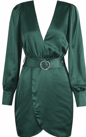 Green Diamante Buckle Satin Dress