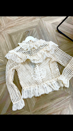 Cream Lace Back Zip Peplum Top