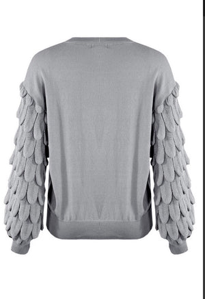 Grey Chunky Sleeves Knitted Jumper
