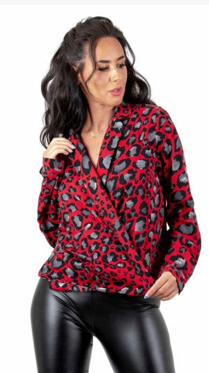 Red and Grey Animal Print Crossover Shirt