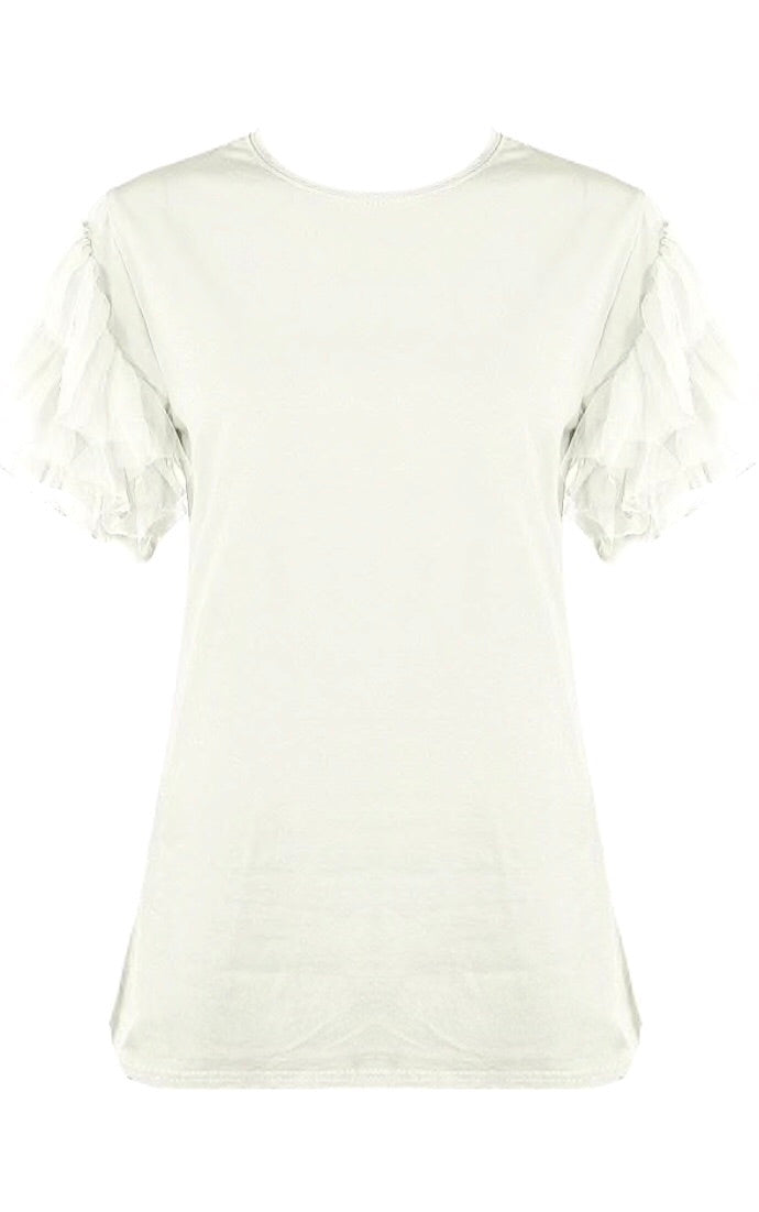 White Tulle Sleeve T-shirt