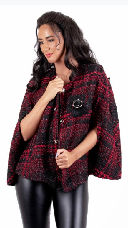 Red Chanel Inspired Tweed Cape