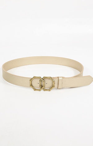 "Golden Faux Leather ""OO"" Pin Buckle Belt"