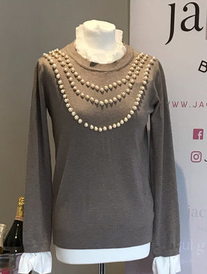 Beige Ladies Pearl Knit Jumper